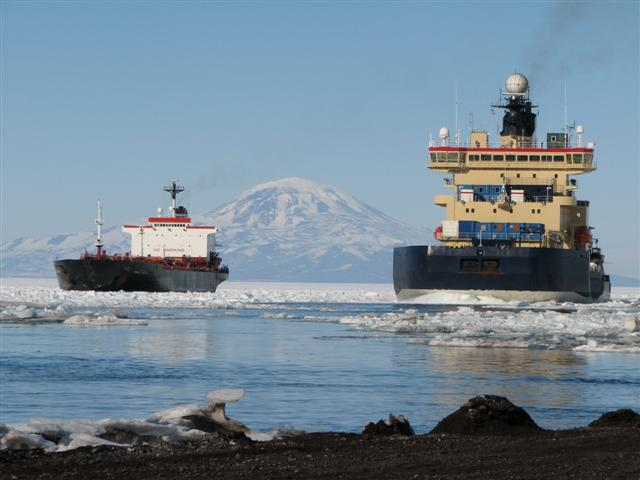Two vessels near McMurdo Station.