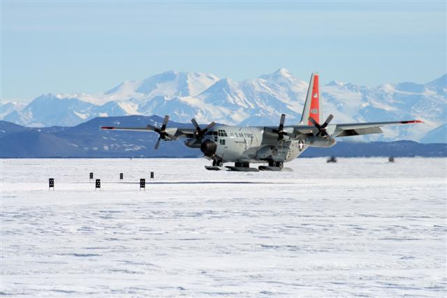 LC-130 lands at the Pegasus airfield.