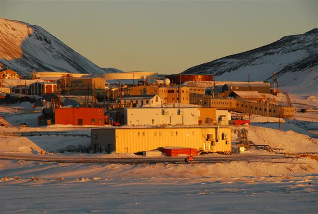 McMurdo Station bathed in sunlight in October 2008.