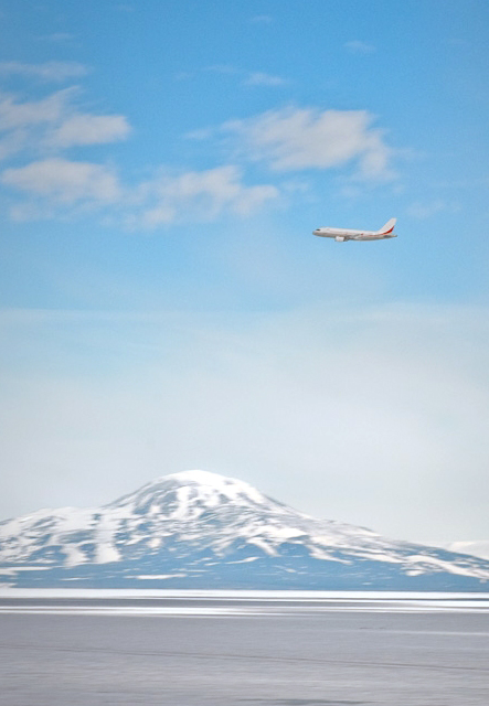 An Australian Airbus departs Antarctica on March 5, 2010.