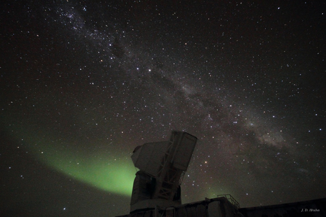 The Milky Way and telescope at South Pole.