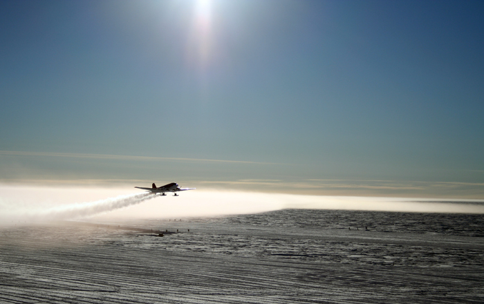 Plane taking off from South Pole.