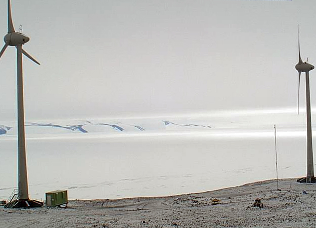 New wind turbines between Scott Base and McMurdo Station.