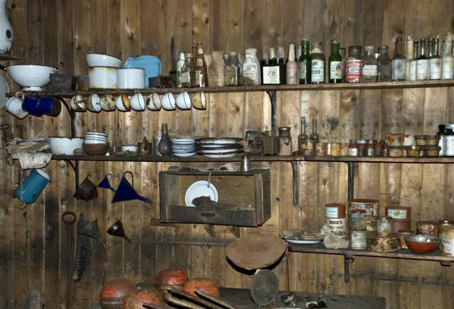 Shelves of dishes.