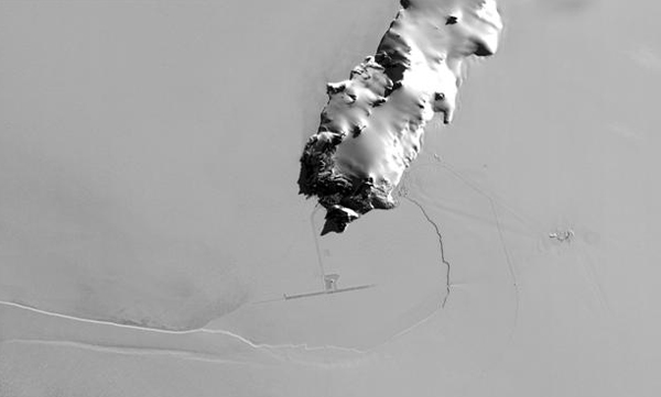 Satellite image of island and ice.