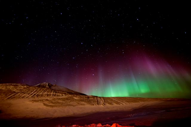 Night sky and aurora.