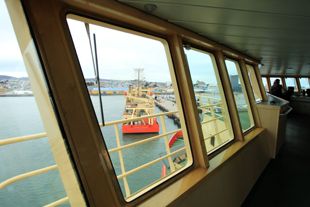 Ship as seen through bridge of another ship.