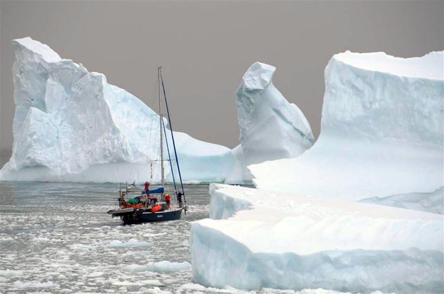 Small ships sails past icebergs.