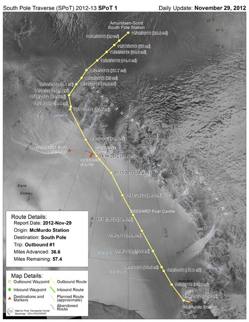 South Pole Traverse route.