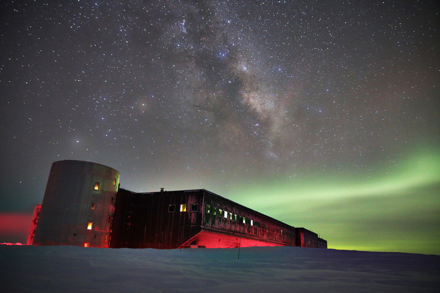 The South Pole Station under the Aurora