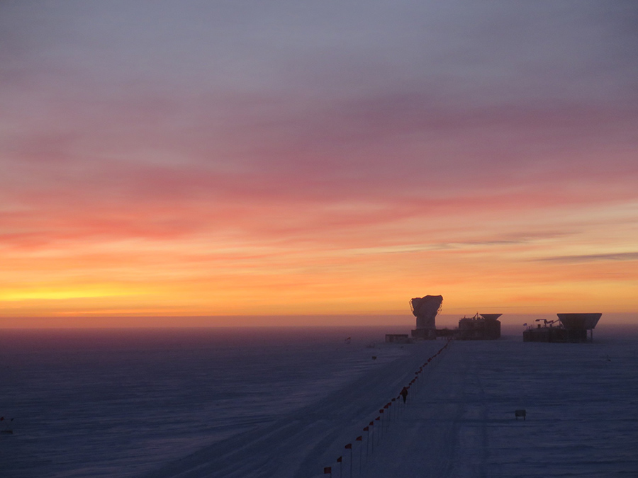 The sun produces a beautiful backdrop for the three Cosmic Microwave Background telescopes
