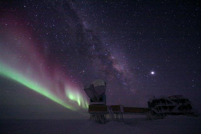 Auroras shimmer over the South Pole Telescope in the Dark Sector.