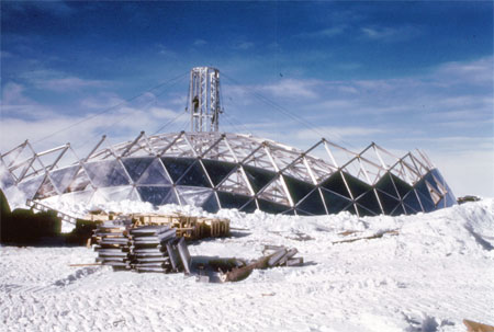 South Pole Dome construction, 1972-73.