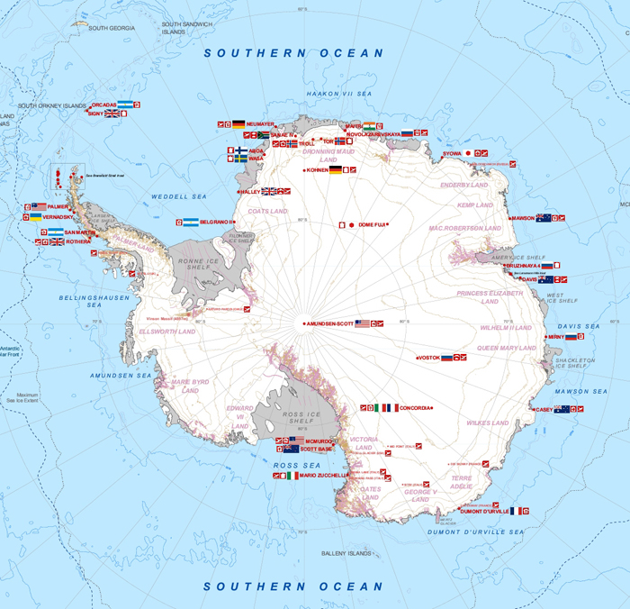 Antarctic map with stations.