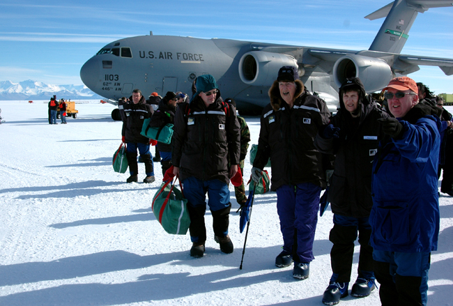 Sir Ed arrives in Antarctica.