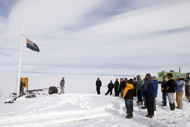 Flag ceremony at Scott Base.