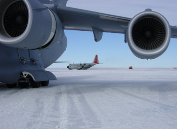 Airplanes on sea ice