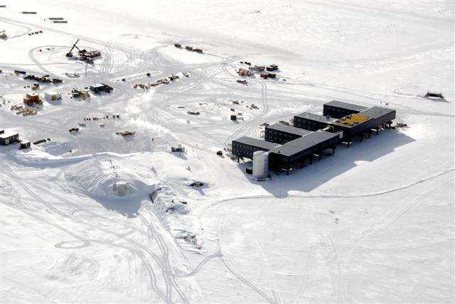 Aerial picture of South Pole Station