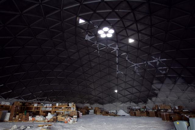 South Pole dome used as storage.