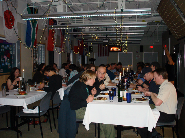 2008 Midwinter meal at South Pole.