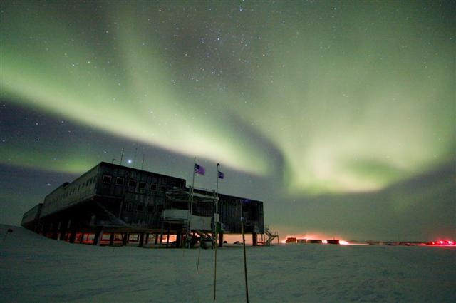 South Pole Station in winter.