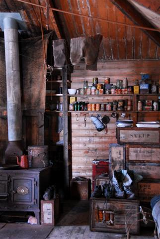Interior of Shackleton's hut at Cape Royds.
