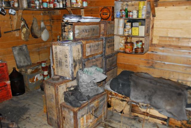 Interior of Cape Royds historic hut.
