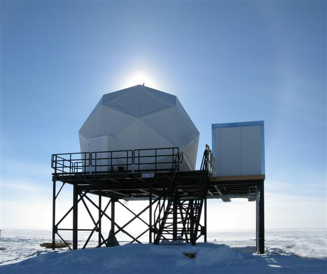 Dome that covers dish at South Pole.