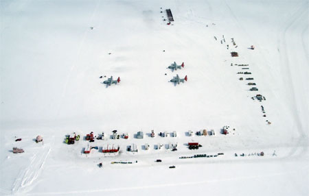 An aerial view of Williams Airfield near McMurdo Station.