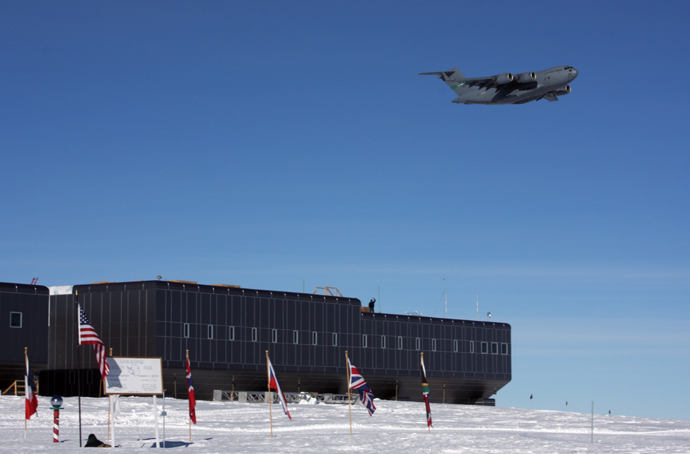 C-17 flies over South Pole Station.
