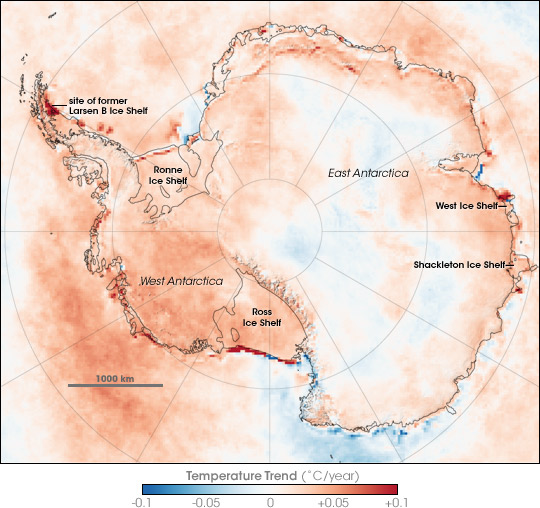 Antarctica temperature map from satellite data.