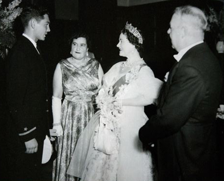 Morton Beebe meets Queen Mother.