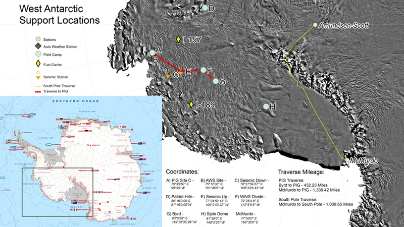 Map of West Antarctica field camps.