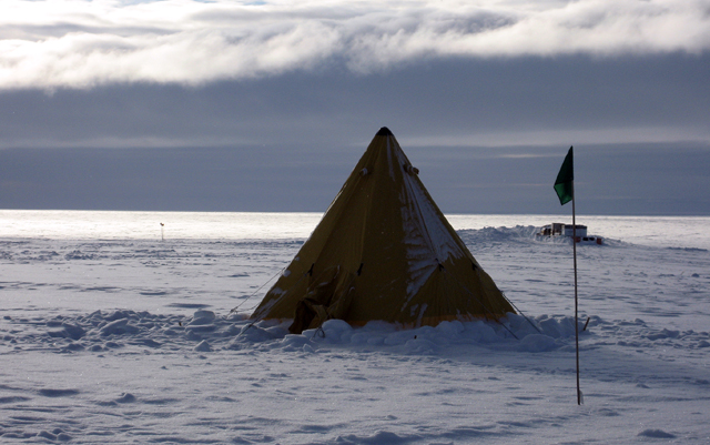 A Scott tent sits on the location of the last Byrd Surface Camp.