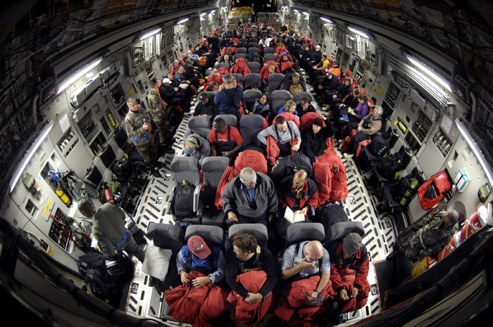 Inside an Air Force C-17 Globemaster III.