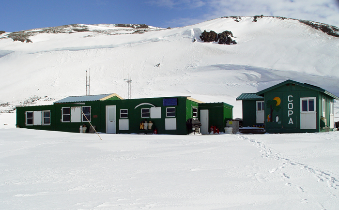 Snow covers the Copa field camp early in the season.