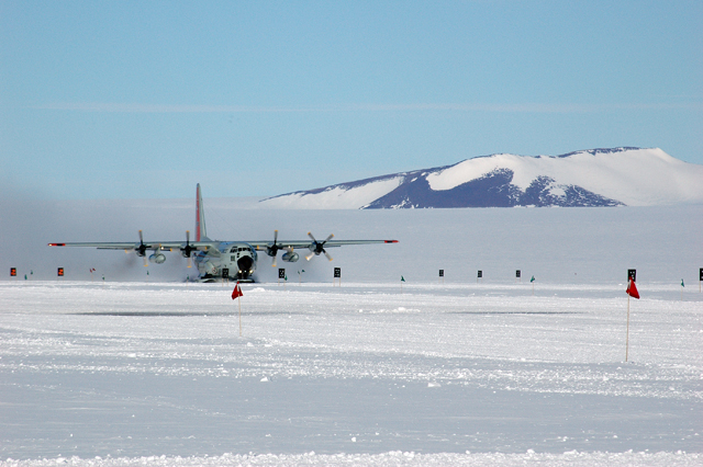 Plane on ice runway.