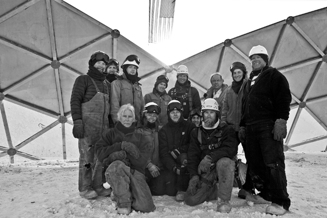 The dome deconstruction crew on Jan. 15, 2010.