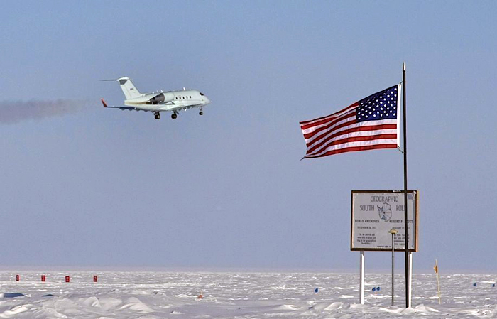 FAA plane flies by the geographic South Pole.