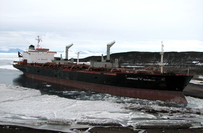 The fuel tanker Lawrence H. Gianella arrives at McMurdo Station.