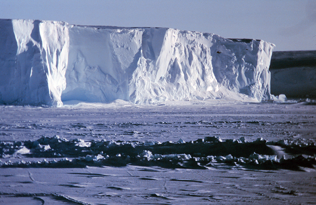 A tall ice shelf in Antarctica.
