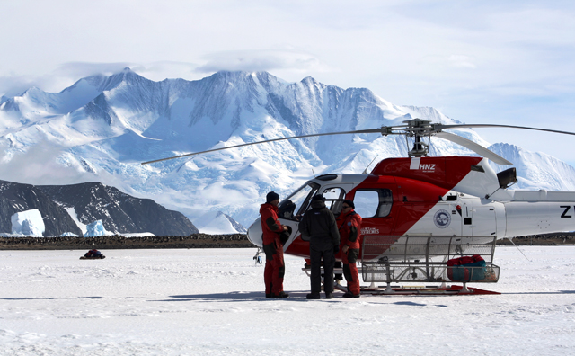 Helicopter and crew with the Italian Antarctic program.