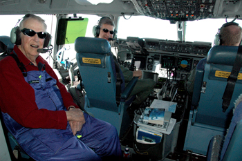 Sir Edmund Hillary on flight deck.