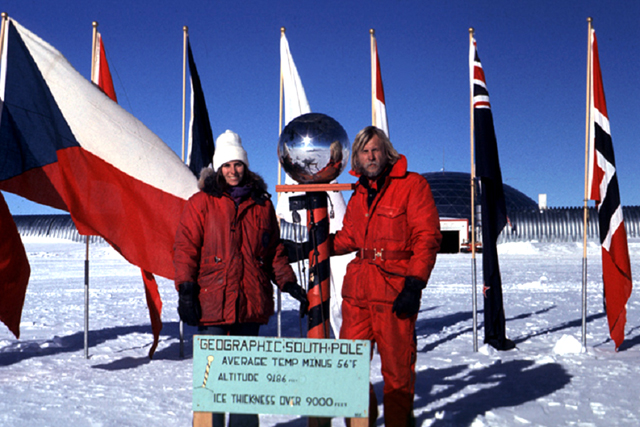 Jerry and Elena Marty at South Pole in the 1970s.