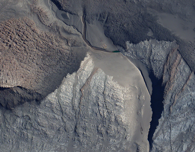 A Quickbird satellite image of a field camp.