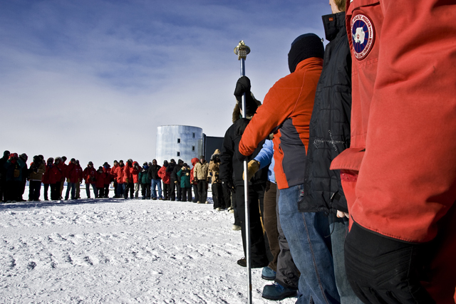 South Pole geographic marker ceremony, Jan. 1, 2010.