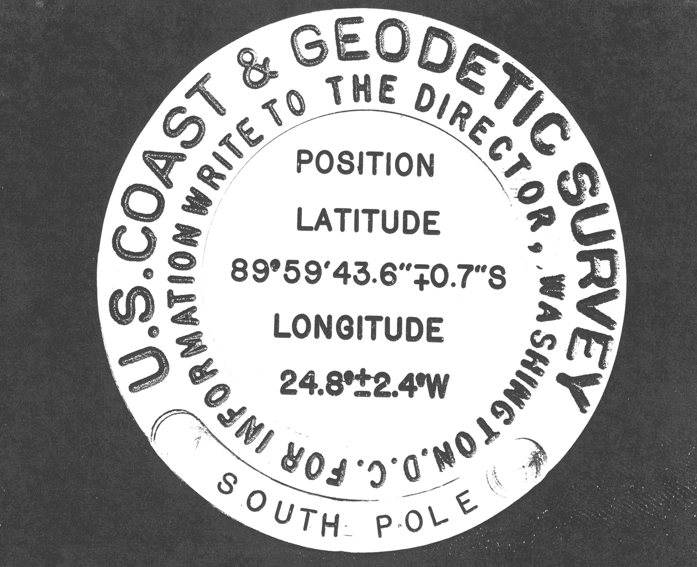 Photocopy of 1959 geographic marker.