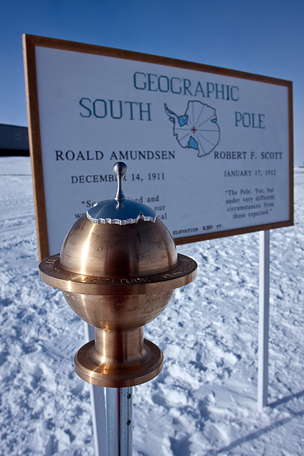 South Pole 2009 geographic marker.
