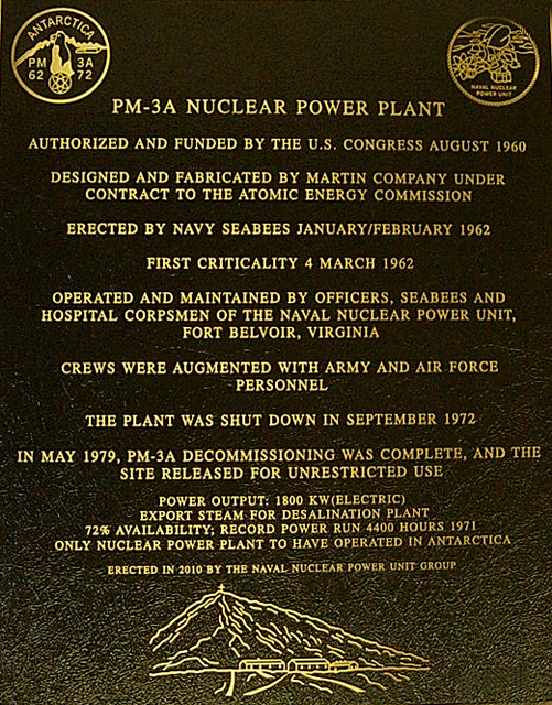 Plaque for nuclear power plant.