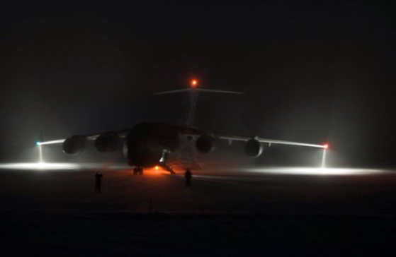Air Force C17 at Pegasus airfield after first night-vision landing.